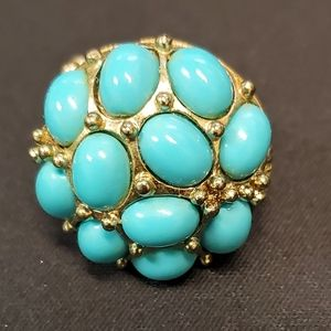 Pretty Aqua and Goldtone Expandable Ring